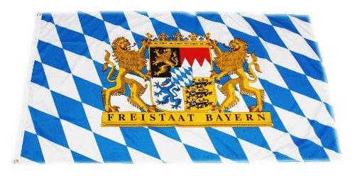 Original Handycop® Flagge Fahne F92774 Bayern Landesflagge mit großem Staatswappen und Spruch - Freistaat Bayern 90 x 150 cm - wetterfeste Qualität
