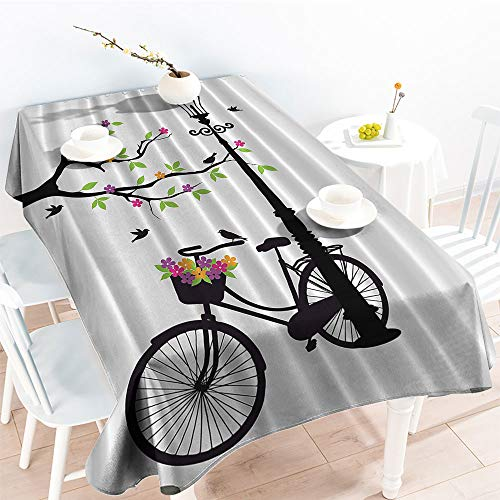 Oil-Proof Spill-Proof Spring Tree Birds Bike Basket with Colorful Flowers Blossom European City Decor for Abstract Art Prints Themefor Party/Picnic TableclothBlack and White Green Purple Oblong Rectan