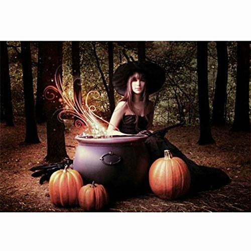 Wizland Halloween 5D DIY Diamond Painting Full Drill Round Resin Beads Pictures Beauty Witch of Crystals Diamond Dotz Kits,Arts, Crafts & Sewing Cross Stitch for Home -