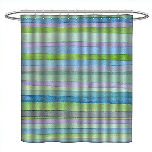 Ohio State Buckeyes Striped Acrylic - bybyhome Blue Shower Curtains with Shower Hooks Hand Drawn Style Watercolor Striped Pattern Soft Colors Acrylic Paint Artwork Fabric Bathroom Set with Hooks W54 x L78 Blue Green Violet