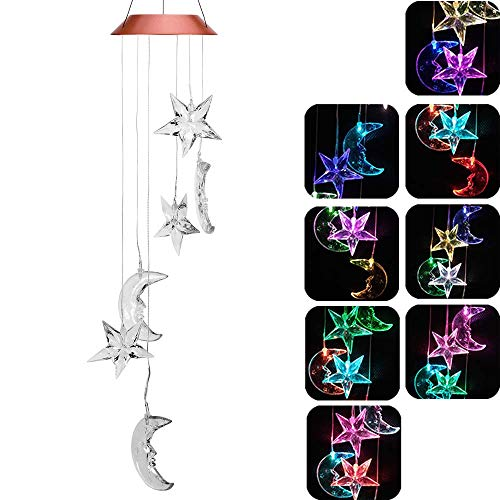 Solar Stars And Moon Wind Chimes, Outdoor Waterproof Mobile Romantic LED Color-Changing Multi Solar Sensor Powered Wind Chimes Lights for Home,Yard,Night Garden,Party,Valentines Gift,Festival Decor