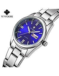 Women Fashion Stainless Steel Watch Date Day Clock Quartz Watch Luminous Watch Wrist watch Ladies Watches (blue)