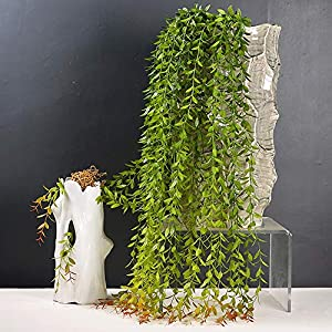 8pcs(40 Stems) Artificial Ivy Vines Plant Fake Greenery Garland Willow Leaves Artificial Hanging Wicker Willow for Wedding Party Home Garden Wall Decoration 4