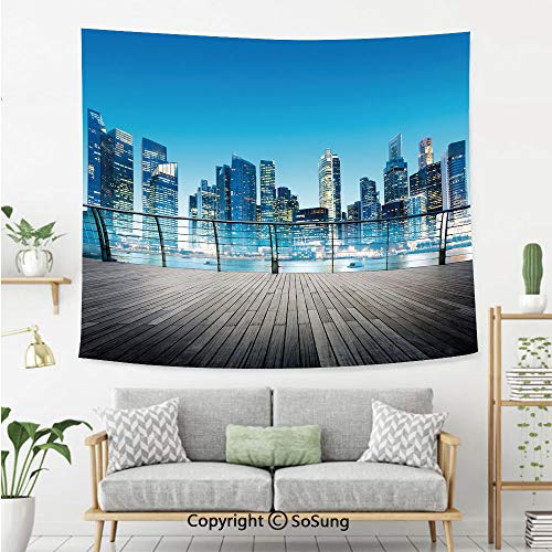 SoSung Landscape Wall Tapestry,City Scenery with Skyscrapers Ocean Sea Image Blurry Details,Bedroom Living Room Dorm Wall Hanging,92X70 Inches,Dark Blue Light Blue and Brown
