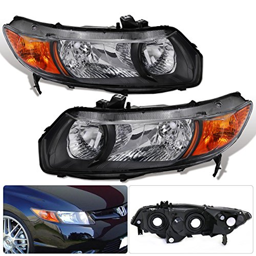 AJP Distributors 2006 2007 2008 2009 2010 2011 Honda Civic 06 07 08 09 10 11 Coupe 2 Door 1 Piece Black Housing Clear Lens Amber Reflector Corner Jdm Upgrade Replacement Assembly Headlights