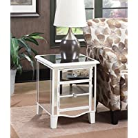 Convenience Concepts 413551W Gold Coast Mirrored End Table, White