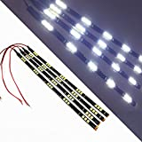 "SOCAL-LED White 30cm 12"" Flexible LED Strips High Power 5050 15 SMD Car DRL Under Dash Accent Light (Pack of 4)"