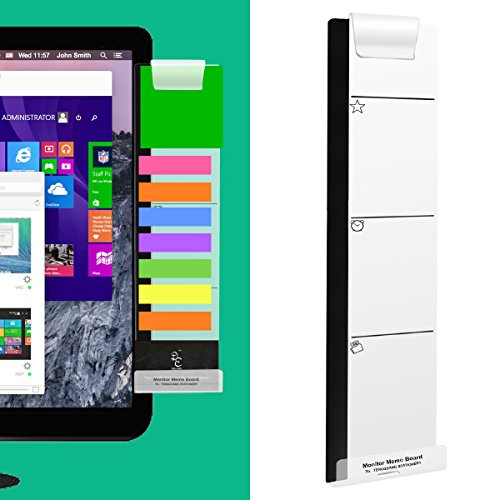 Monitor Memo Board Computer Monitors Screen Message Boards Notes Board Memo Pad Creative Transparent Multifunction Sticky Board For Paper Sticky Notes And Phone Holder with Hole for Charge Cable Right