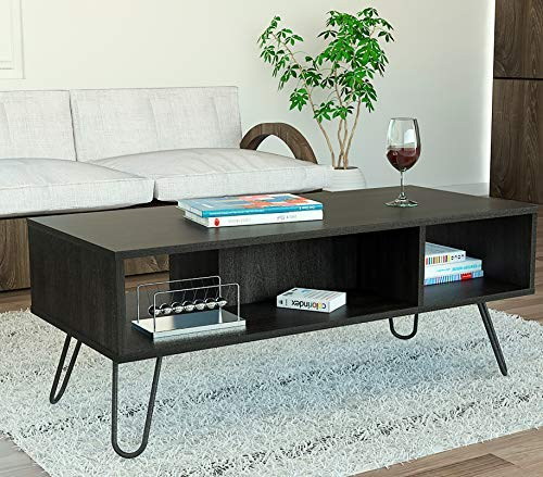 Large Open Coffee Table - TUHOME Vassel Collection Coffee Table, Cocktail Table with Open Storage Shelves Compartments, Modern Industrial Look with Metal Legs Espresso Finish for Living Room and Office, Easy Assembly