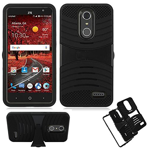 Phone Case for ZTE Zmax-One LTE Z719DL / AT&T PREPAID ZTE Blade Spark / Cricket ZTE Grand X-4 LTE Rugged Heavy Duty Armor Cover Stand (Armor Black Skin-Black Stand)