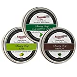 Taconic Shave Barbershop Quality 3 Shaving Soap Variety Pack - with Antioxidant-Rich Hemp Seed Oil - Made in New York's Hudson Valley -- Bay Rum, Eucalyptus Mint & Lime 4 oz soaps!