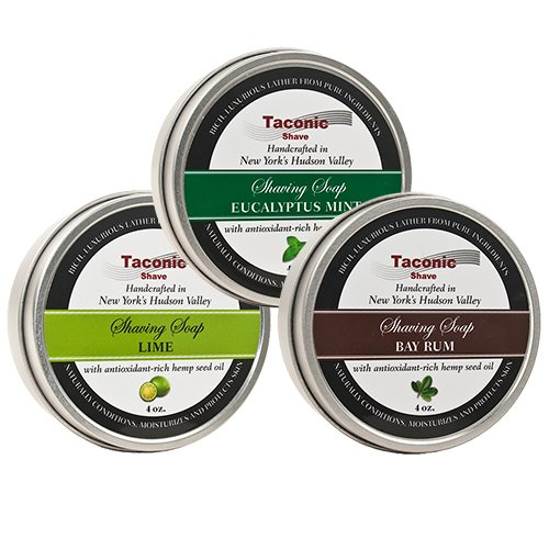 - Taconic Shave Barbershop Quality 3 Shaving Soap Variety Pack - with Antioxidant-Rich Hemp Seed Oil - Made in New York's Hudson Valley - Bay Rum, Eucalyptus Mint & Lime 4 oz Soaps!