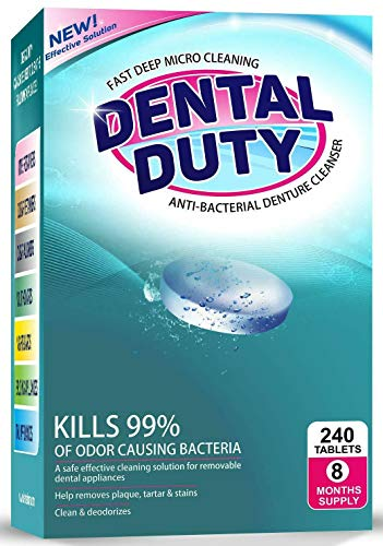240 Retainer and Denture Cleaning Tablets -(8 Months Supply)- Cleaner Removes Bad Odor, Plaque, Stains from Dentures, Retainers, Night Guards, Mouth Guards & Removable Dental Appliances. Made in USA.