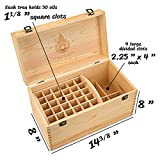 Essential-Oil-Box-Wooden-Storage-Chest-With-Handle-2-Removable-Trays-Holds-60-Bottles-Extra-Space-For-Larger-Items-Natural-Wax-Finish-Large-Case-Best-For-Keeping-Your-Oils-Safe-Free-EO-Labels
