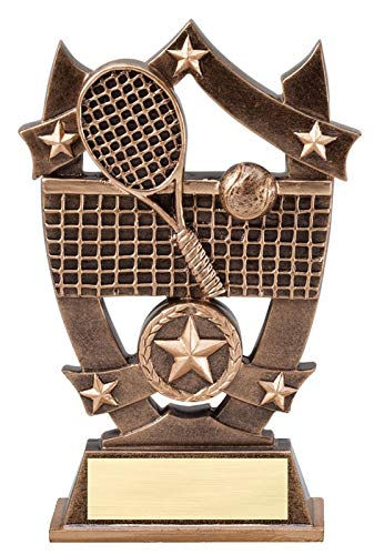 Express Medals 6.25 Inch Sport Star Tennis Trophy Award with Engraved Personalized Plate 1-Pack - Engraved Tennis Medal