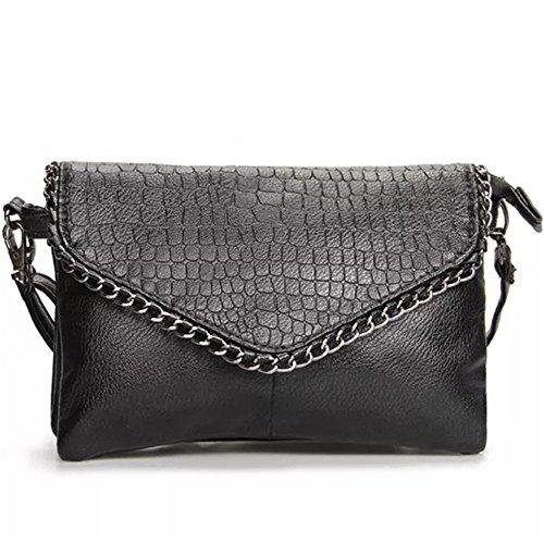 Fermeture à glissière magnétique rétro Minimaliste décorative Zip Shoulder Straps carré PU Sac à bandoulière Messenger Bag, Noir Loisirs