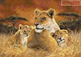 Motherly - Lion with Cubs Counted Cross Stitch Kit (16 ct aida)