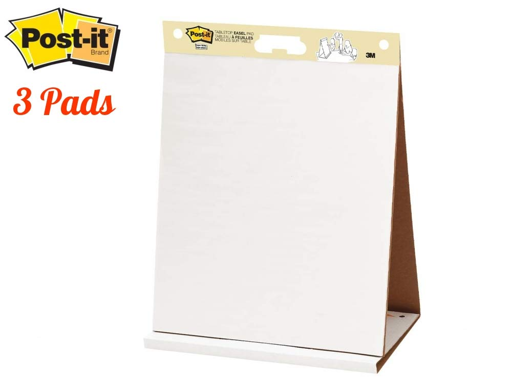 Post-it Super Sticky Portable Tabletop Easel Pad, 20x23 Inches, 20 Sheets/Pad, 3 Pads by Post-it