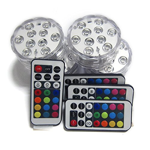 Submersible LED Lights, 10-LED RGB Waterproof Battery Powered Lights with IR Remote Controller for Aquarium, Swimming Pool, Garden, Party, Weeding, Christmas, Halloween,Set of 4
