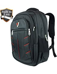 Black & Red Sport Multipurpose Backpack with Laptop Sleeve - Large Durable Mochila Bag for School or Travel by...