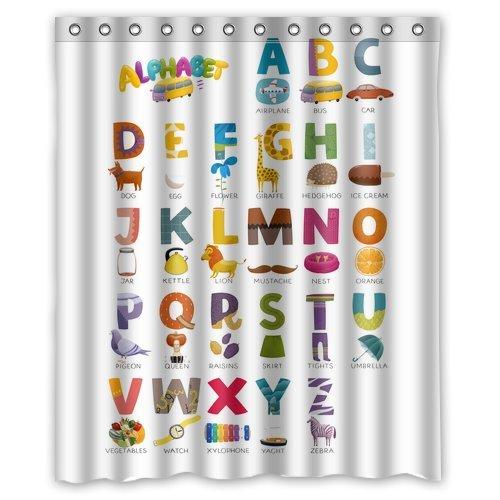 Custom ABC Alphabet Waterproof Polyester Fabric 60quotw X 72quoth