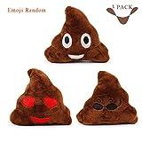 Geekercity Squeakie Emojiz Squeaky Plush Dog Cat Toy - Novelty Funny Emoji Cushion Pile O' Poo Shape Emoji Toys for Pet [ 3 Pack ]