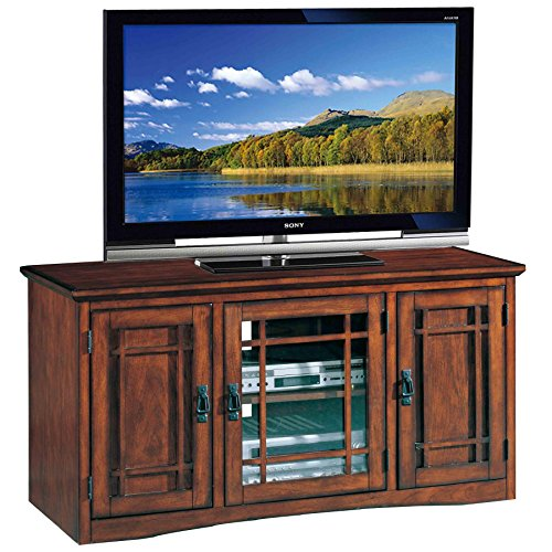Leick Riley Holliday Mission Tall TV Stand, 50-Inch, (Oak Pedestal Speakers)