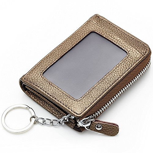 ID Unisex and Gold Aiklin with Wallet Keyring Leather Window Credit Card TaTqdYPw