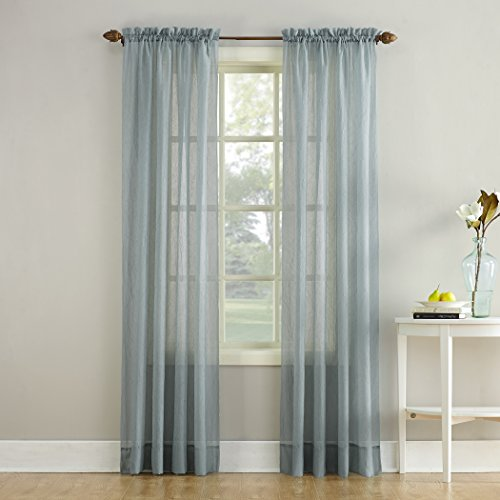 No. 918 Erica Crushed Textured Sheer Voile Rod Pocket Curtain Panel, Charcoal Gray, 51