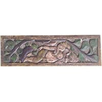 Vintage Wall Hanging Hand Carved Relaxing Ganapati Under Tree Headboard Bohemian Decor