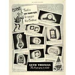 1950 Ad Seth Thomas Clock Homestead Banjo Travette Mantel Alarm Westminster - Original Print Ad