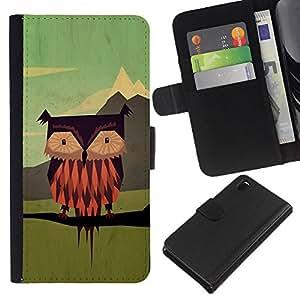 WINCASE (No Para Z3 plus+ / Z3 compact) Cuadro Funda Voltear Cuero Ranura Tarjetas TPU Carcasas Protectora Cover Case Para Sony Xperia Z3 D6603 - hombre búho vinagreta de dibujos animados arte