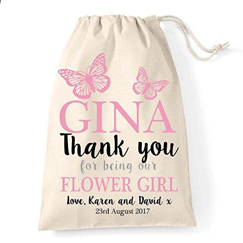 Piccola, 15 cm x 20 cm-Cordoncino in cotone, motivo floreale, personalizzata con scritta thank you, confezione regalo di matrimonio, motivo: farfalle