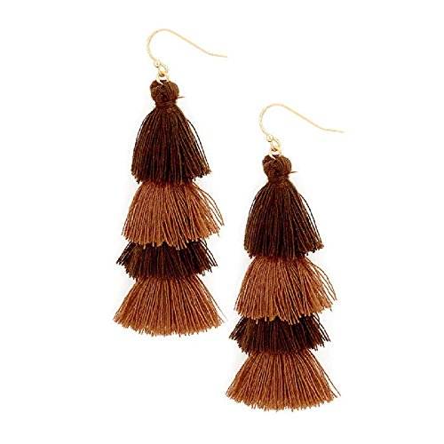 Earrings Brown Two Tone (Women's Two Tone Layered Tassel Earrings In All Colors With Free Gift Box (Brown))