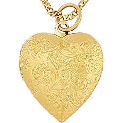 Heart Necklace with Locket, 24K Gold Over Bronze, Premium Fashion Jewelry Pendant for Photos, Pictures, Guaranteed for Life, 18 Chain