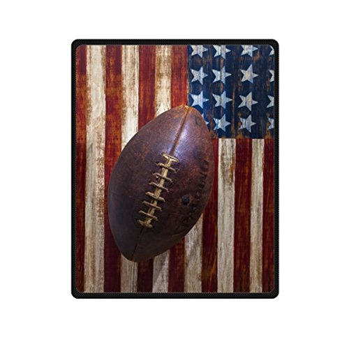 CAQ Custom Vintage Old American Football On American Flag Design Blanket Fleece Blanket 58 inches x 80 inches Soft Travel Blanket Vintage American Football