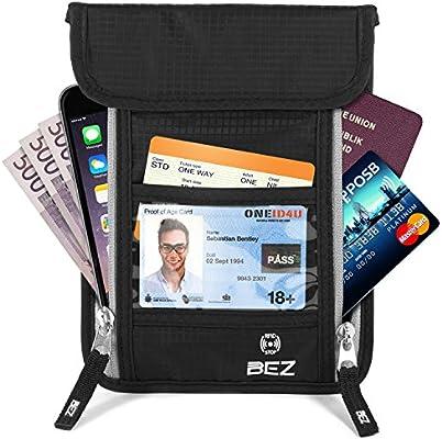 1d195106be Porta Documenti Viaggio Collo, BEZ® Porta Documenti Passaporto, Portafoglio  RFID per Uomo e Donna, Borsello da Viaggio con Custodie Protettive RFID -  Nero