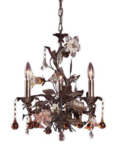 Floret 3 Light - Elk 85001 3-Light Chandelier In Deep Rust And Hand Blown Florets