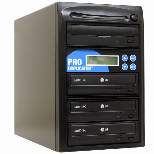 Produplicator 1 to 3 24X CD DVD Duplicator Copier (M-Disc Support Burner) with Nero Essentials CD/DVD Burning Software (Standalone Duplication Tower)