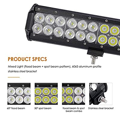 Auxbeam 20 Inch LED Light Bar 126W Light Bar with 42pcs 3W Led Off Road Driving Lights Spot Flood Combo Beam for Jeep Driving Off Road ATV SUV UTV: Automotive