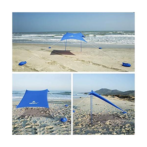 51QeGU4YRdL Forceatt Strandzelt Sonnenschutz, Pop-up Strandzelt mit UPF50+ UV-Schutz und 2 Stücke Aluminiumstangen, Außenschutz für…