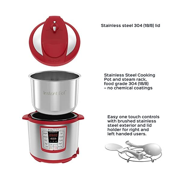 Instant Pot Lux 6-in-1 Electric Pressure Cooker, Slow Cooker, Rice Cooker, Steamer, Saute, and Warmer|6 Quart|Red|12 One… 4