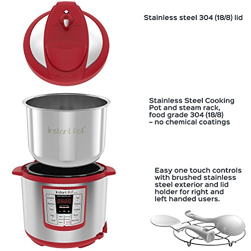 Instant Pot Lux 6 Qt Red 6-in-1 Muti-Use Programmable Pressure Cooker, Slow Cooker, Rice Cooker, Sauté, Steamer, and Warmer by Instant Pot (Image #3)
