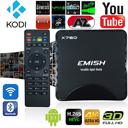 emish 2016 newst TV-Box, Android Smart TV Box, Game Player mit Kodi, WiFi Bluetooth Funktionen, Internet Streaming Media Player mit Android 5.1 Amlogic S905 64 bits mit alle Kanäle, schwarz X750
