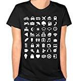 Ooiilpe T-Shirt Travel Icon Women's Round Neck Humor Graphic Short Sleeve Tees Tops Black M