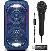 Sony GTKXB60/L High Power Portable Bluetooth Speaker (Blue) w/ Sony FV100 Mic & Sony 16GB Micro Vault USM-X US