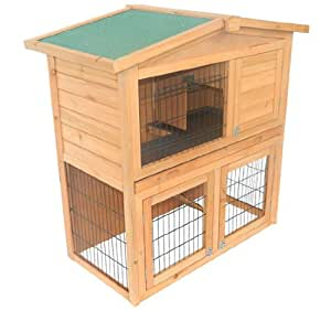 """Pawhut 40"""" Wooden Rabbit Hutch Small Animal House Pet Cage"""