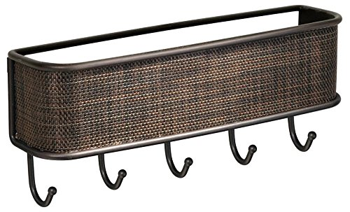 InterDesign 95870 Twillo Mail, Letter Holder, Key Rack Organizer for Entryway, Kitchen - Wall Mount, Bronze