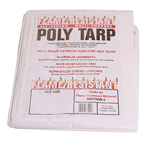 Flame Resistant Poly Tarp - 100% Waterproof, Washable, Mildew & Rot Resistant (10x20) (Flame Retardant Canvas)