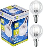 6 x Eco Halogen Energy Saving Mini Golf Balls Globes 28W = 40w SES E14 Small Edison Screw Classic Clear Round, Dimmable Light Bulbs Lamps, G45, Mains 240V